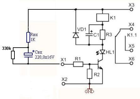 Схема включения реле на 1...2 секунды при подаче питания на ВМ146.