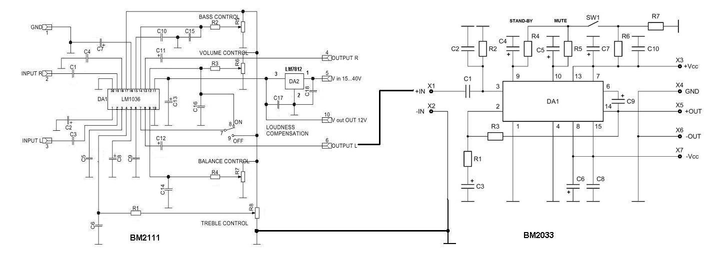 Схема подключений BM2033 после