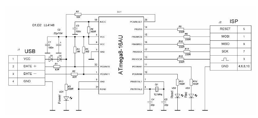 Схема программатора usb.