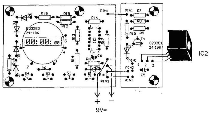 Схема монтажная секундомера и