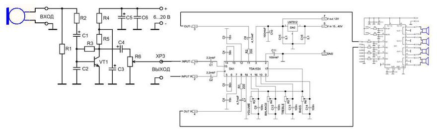 Схема подключений NM2112 между